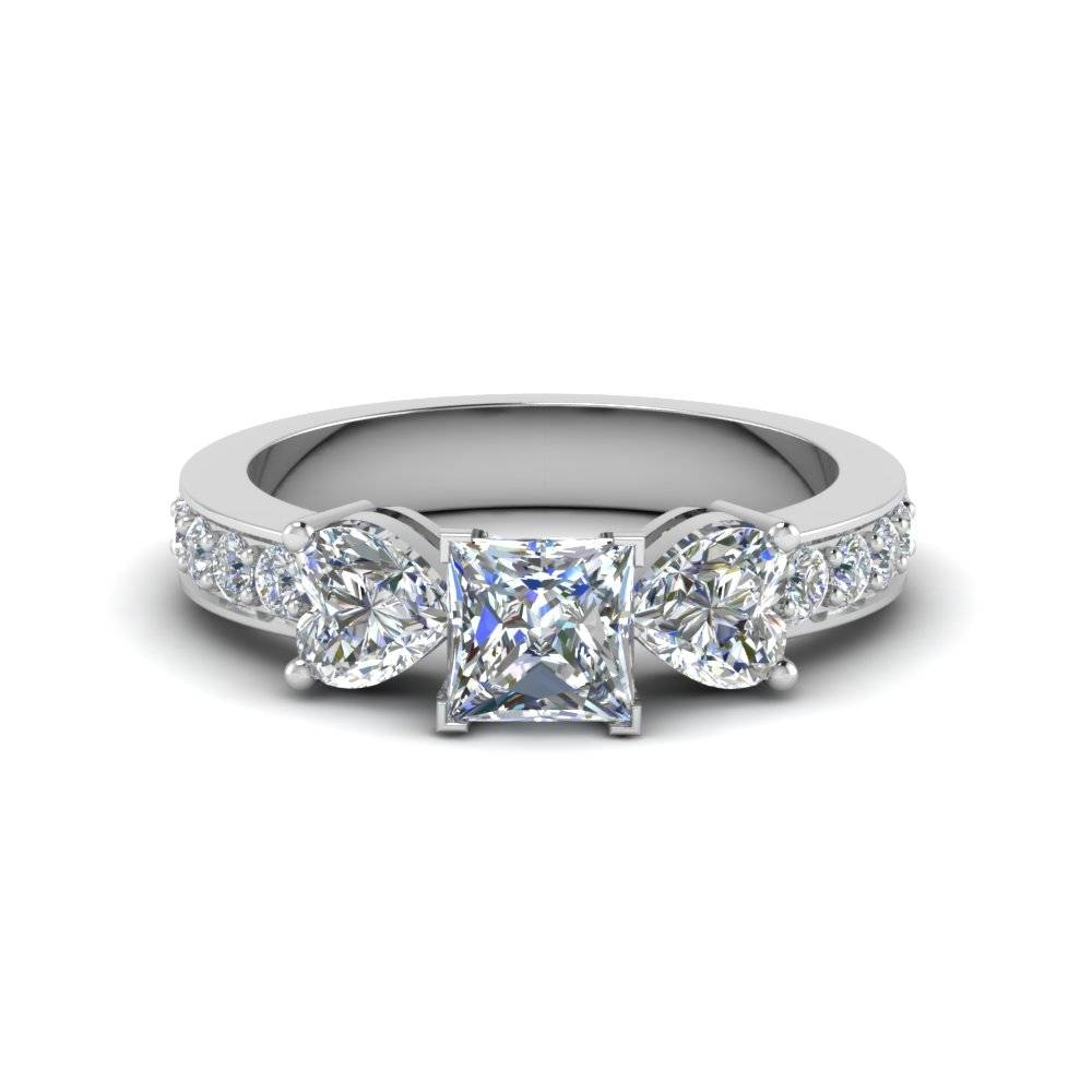 Asscher Cut Pave 3 Stone Diamond Engagement Ring In 14K White Gold With 2018 3 Stone Anniversary Rings (View 3 of 25)