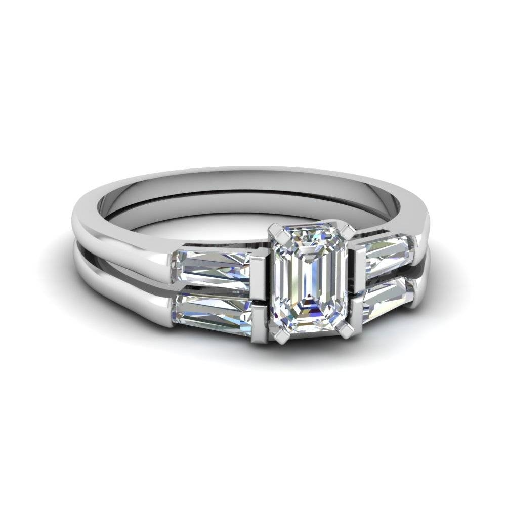 Baguette And Emerald Cut Diamond Wedding Ring Sets In 14K White With Newest Baguette Anniversary Rings (View 6 of 25)