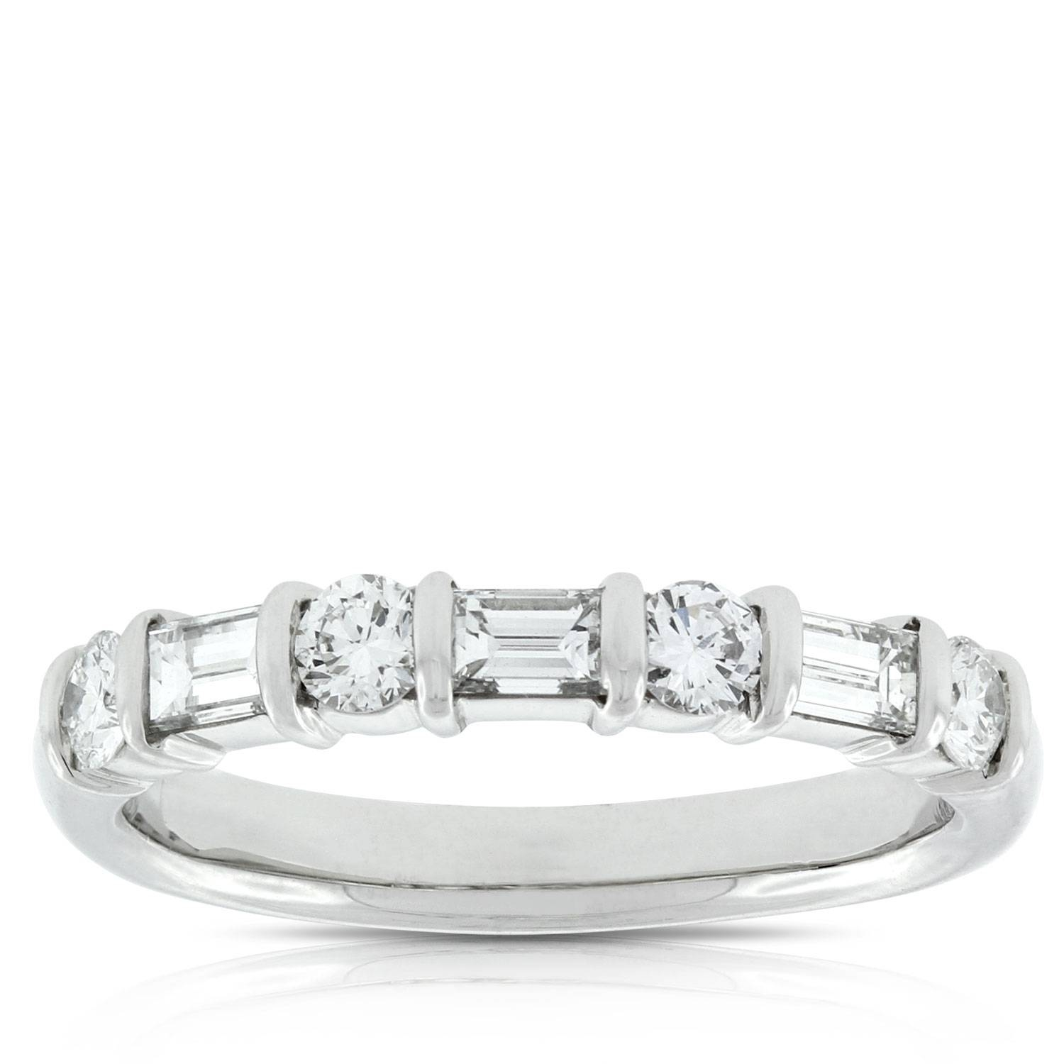 Baguette & Round Diamond Ring, 3/4 Carat In Platinum | Ben Bridge With Current Baguette Anniversary Rings (View 5 of 25)