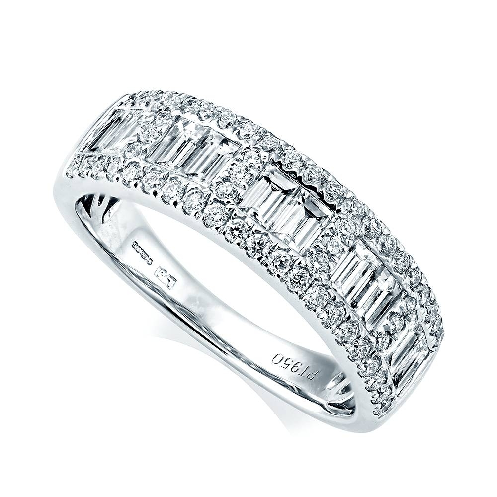 Berry's Platinum Baguette & Brilliant Cut Pave Set Diamond Ring Within 2018 Baguette Anniversary Rings (View 12 of 25)
