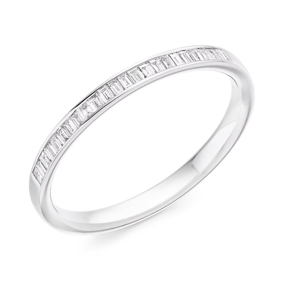 Berry's Platinum Channel Set Baguette Cut Diamond Half Eternity Ring Within Latest Baguette Anniversary Rings (View 13 of 25)