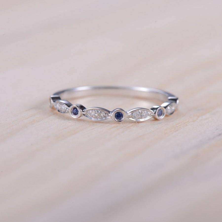Blue Sapphire Band Diamond Band Half Eternity Ring Sapphire White Inside Most Recent Blue Sapphire Anniversary Rings (View 3 of 25)