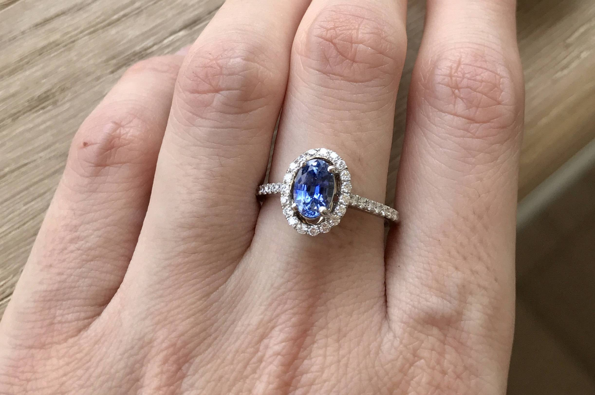 Blue Sapphire Engagement Ring  Sapphire Anniversary Ring  Halo Inside 2017 Halo Anniversary Rings (View 7 of 25)