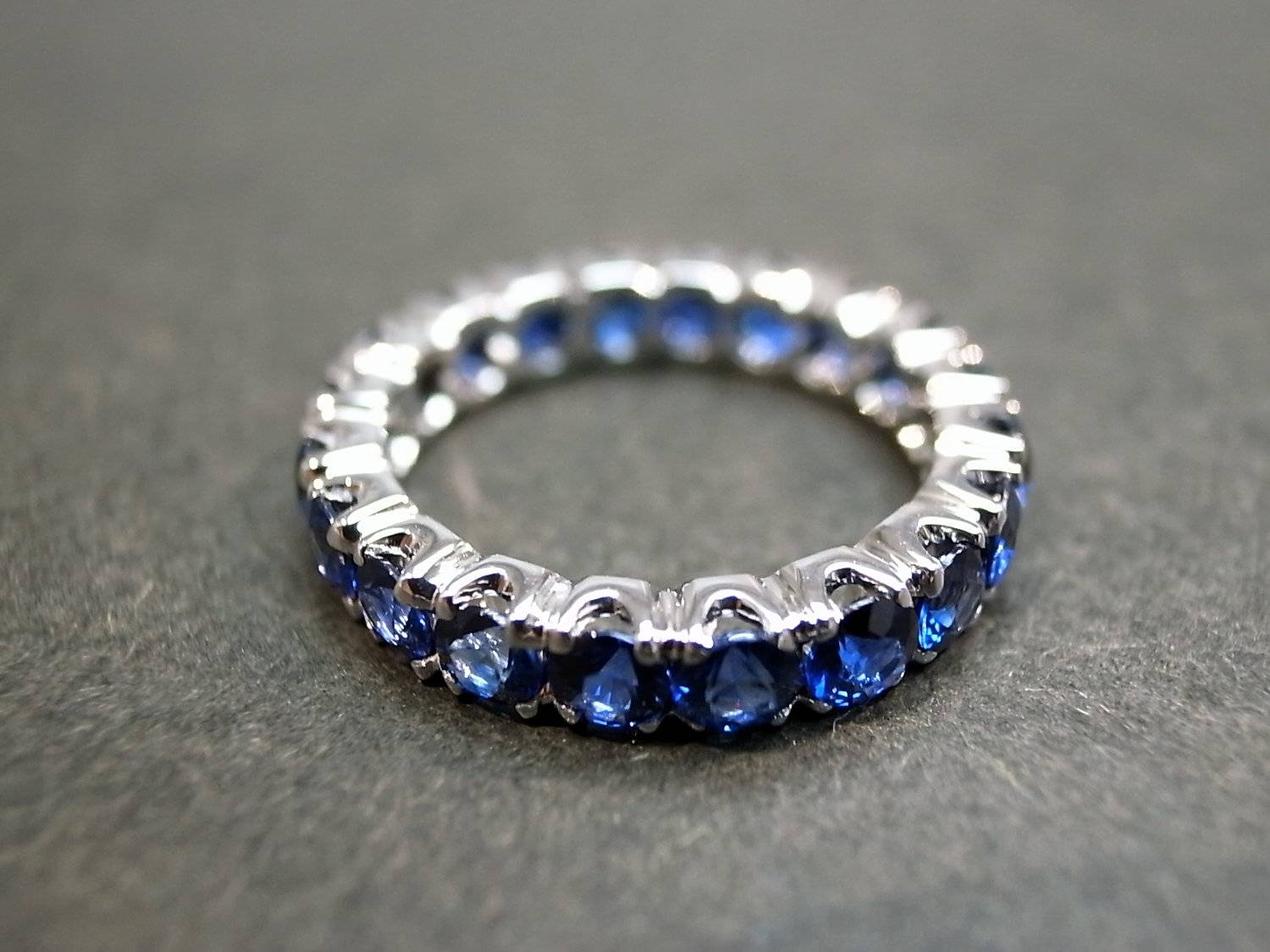 Blue Sapphire Wedding Ring Band Eternity Rings Personalize Pertaining To Latest Blue Sapphire Anniversary Rings (View 1 of 25)