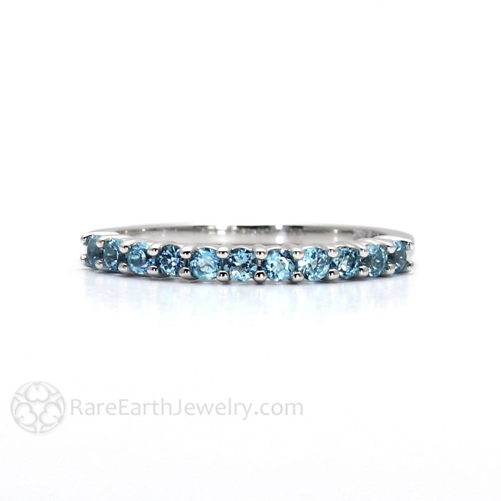 Blue Topaz Ring Anniversary Band Half Eternity Band Stackable With Most Current Stacking Anniversary Rings (View 5 of 25)