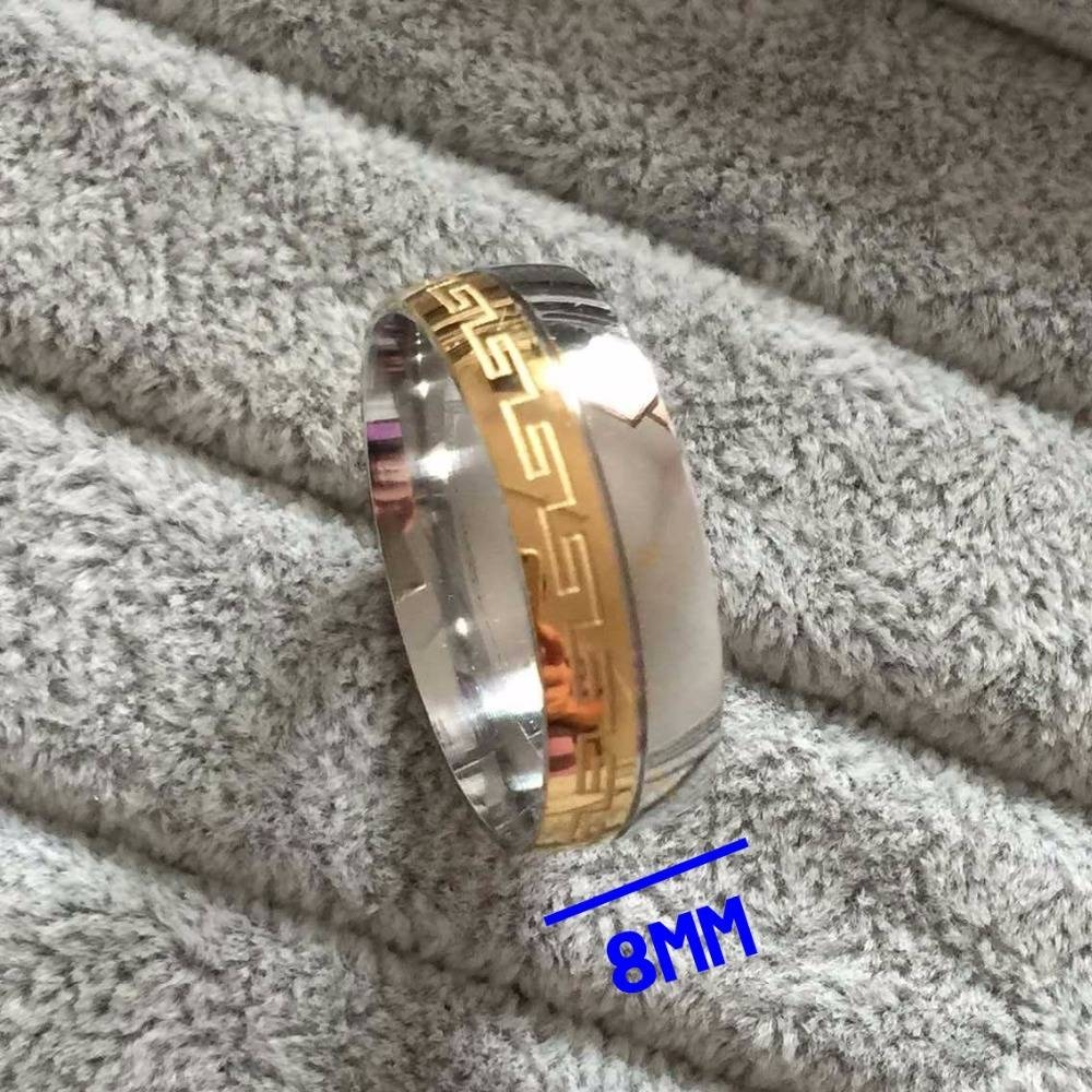 Brand Luxury Large 8mm Silve Gold Plated Two Tone Wedding Band Inside Current Anniversary Rings For Men (Gallery 15 of 25)