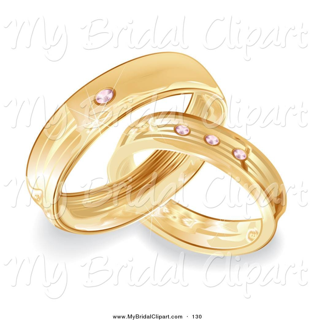 Bridal Clipart Of Gold Bride And Groom Wedding Rings With Diamonds Pertaining To Latest 50Th Anniversary Rings (View 13 of 25)