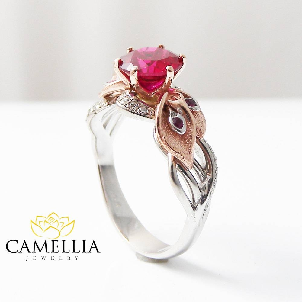 Calla Lily Ruby Engagement Ring Unique Natural Ruby Ring 14K Pertaining To Most Current Ruby Anniversary Rings (View 17 of 25)