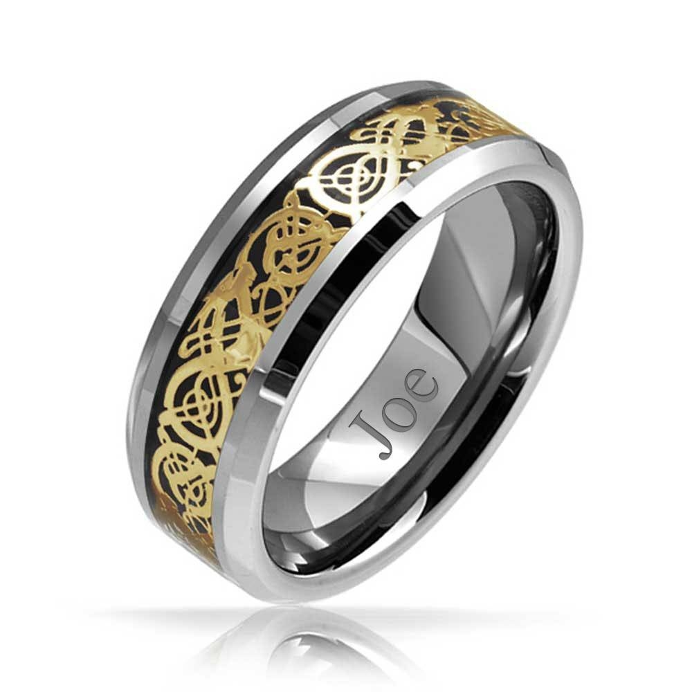 Celtic Dragon Inlay Tungsten Wedding Ring 8Mm Pertaining To 2018 Celtic Anniversary Rings (View 3 of 25)