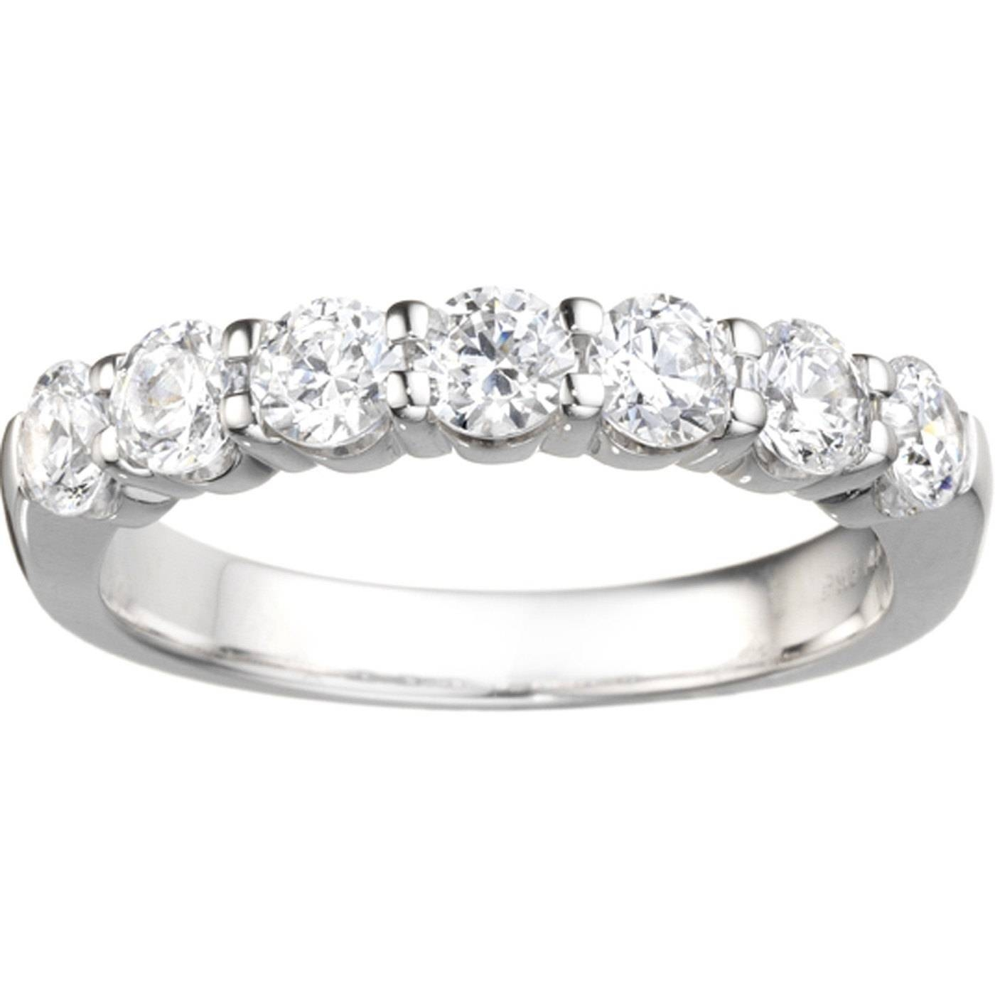 Classic 7 Stone Band .42Ct Shared Prong Cubic Zirconia Set In Pertaining To Most Recent Sterling Silver Anniversary Rings (Gallery 8 of 25)