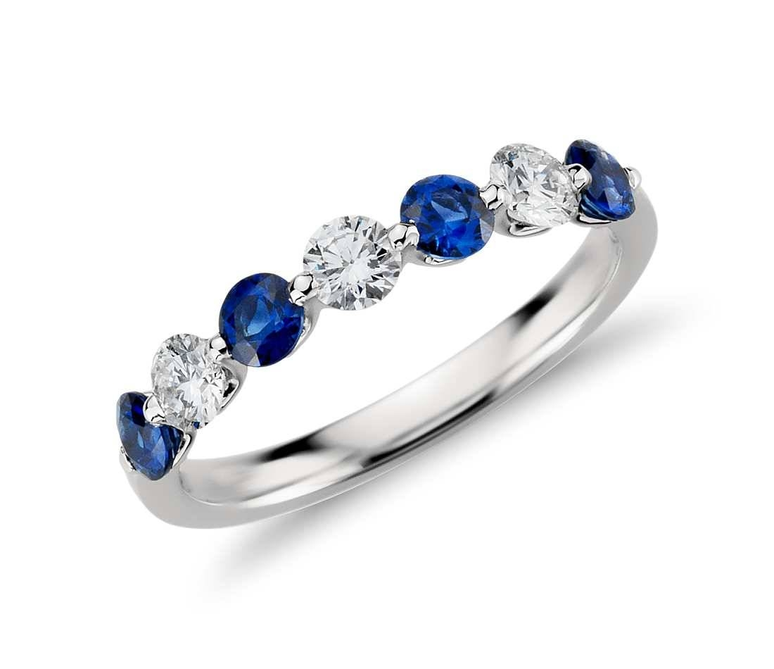 Classic Floating Sapphire And Cubic Zirconia Ring In 14K White Throughout Best And Newest Sapphire And Diamond Anniversary Rings (View 6 of 25)