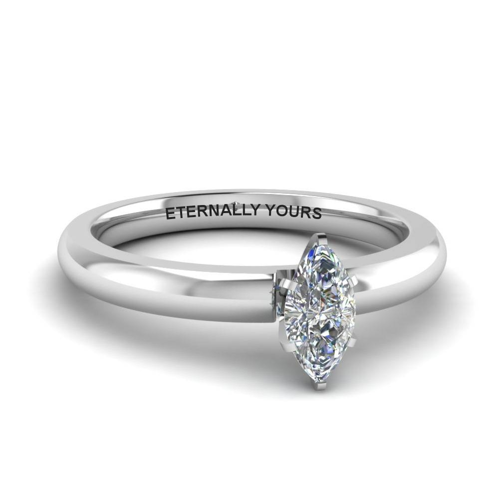 Classic Marquise Diamond Solitaire Engagement Ring In 14K White In Most Current Marquise Diamond Anniversary Rings (View 5 of 25)