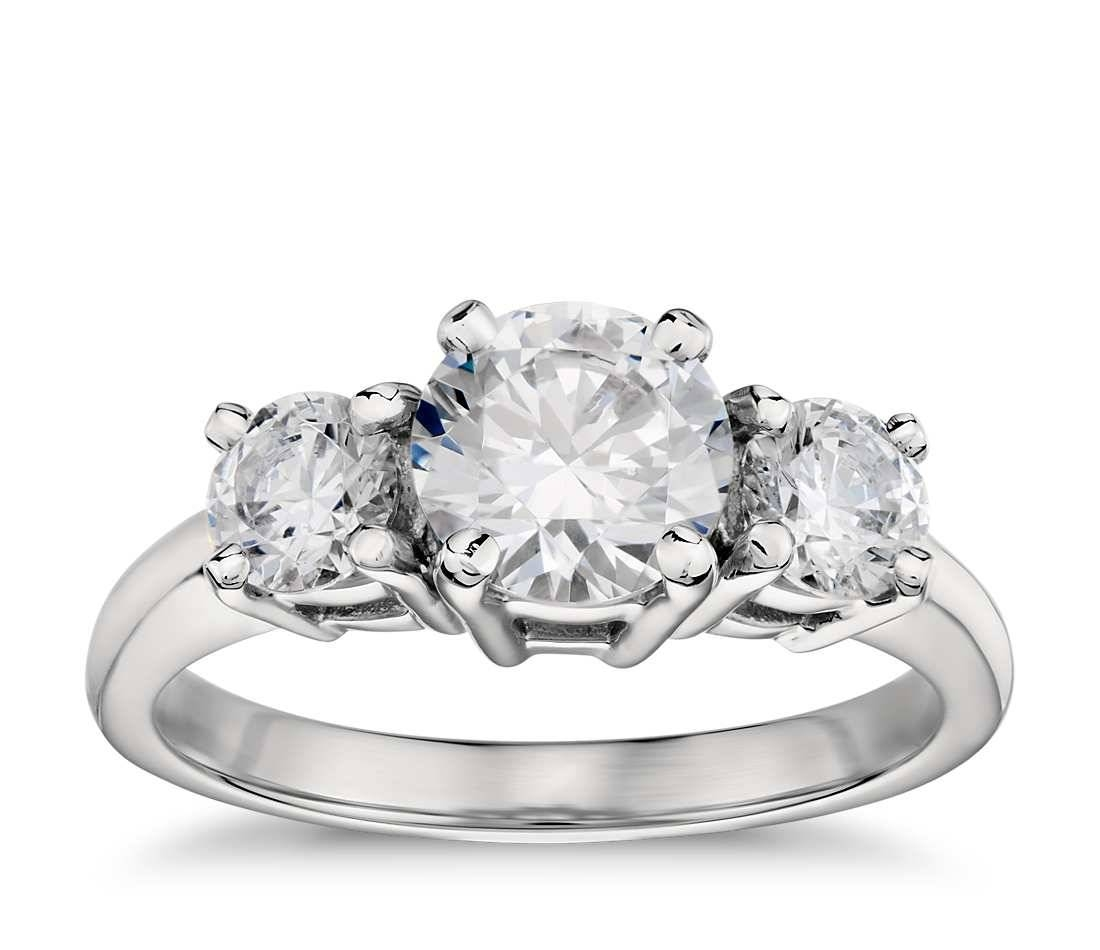 Classic Three Stone Cubic Zirconia Engagement Ring In 14K White Inside Current 3 Stone Anniversary Rings Settings (View 25 of 25)