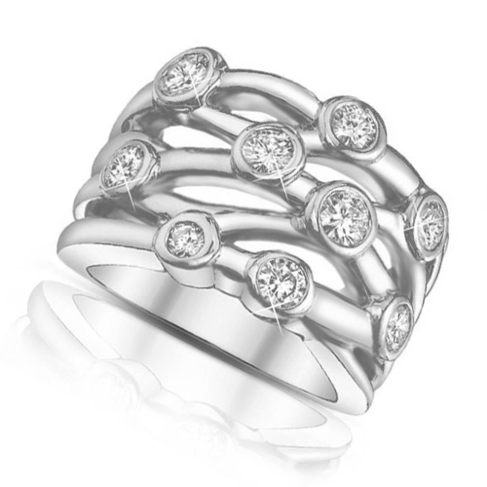 Ct Ladies Round Cut Diamond Anniversary Ring In Bezel Setting In Best And Newest Ladies Anniversary Rings (View 8 of 25)