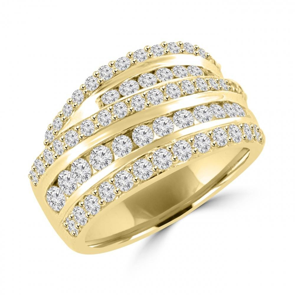 Ct Ladies Round Cut Diamond Anniversary Ring In Prong Setting 14 Throughout 2018 Yellow Gold Diamond Anniversary Rings (Gallery 20 of 25)