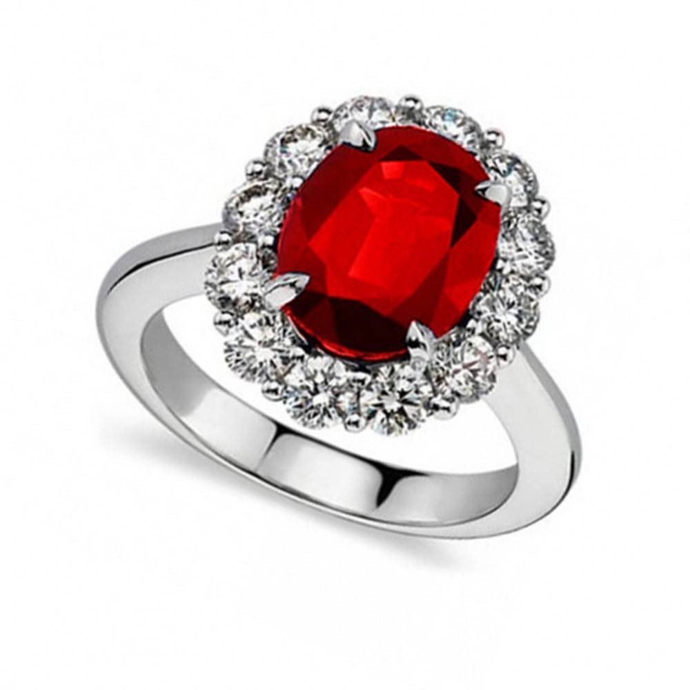 Ct Oval Shape Ruby And Diamond Anniversary Ring Intended For Current Ruby And Diamond Anniversary Rings (View 6 of 25)