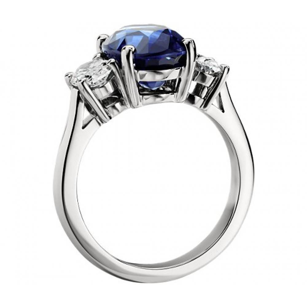 Ct Oval Shape Sapphire With Oval Shape Diamond Anniversary Ring In Most Current Sapphire And Diamond Anniversary Rings (View 7 of 25)