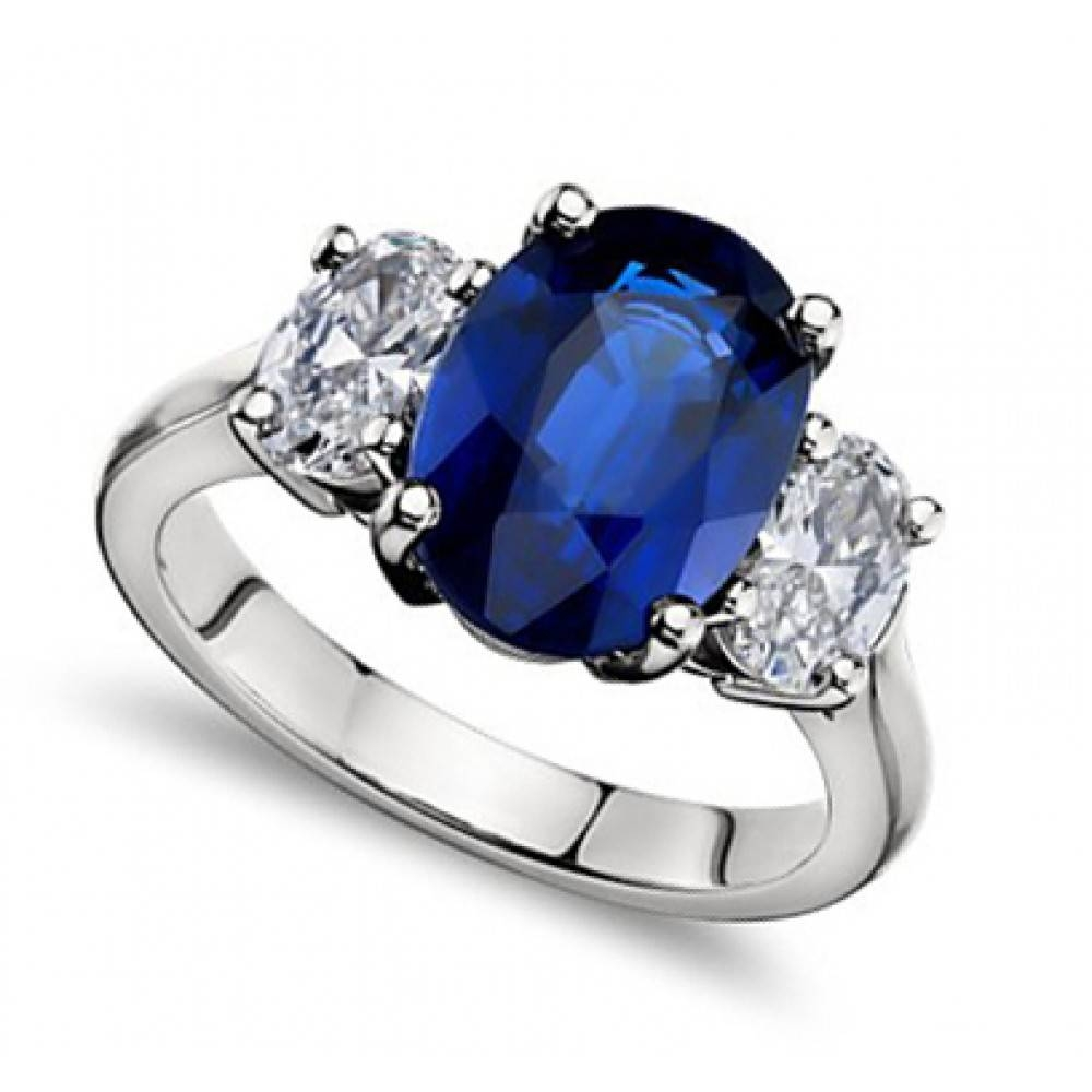 Ct Oval Shape Sapphire With Oval Shape Diamond Anniversary Ring Intended For Best And Newest Blue Diamond Anniversary Rings (Gallery 16 of 25)