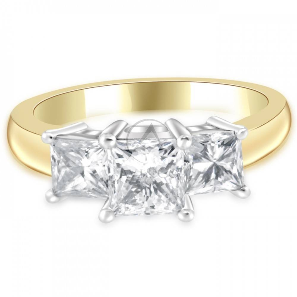 Cttw Princess Cut Diamond Three Stone Anniversary Ring 14K Two For Latest Two Tone Anniversary Rings (View 7 of 25)