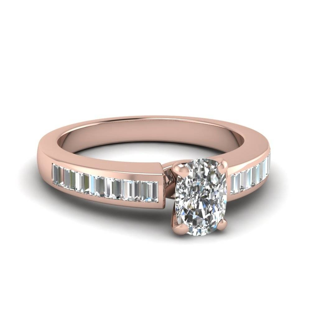 Cushion Cut Diamond Engagement Ring In 14k Rose Gold | Fascinating Intended For Recent Baguette Diamond Anniversary Rings (View 5 of 25)