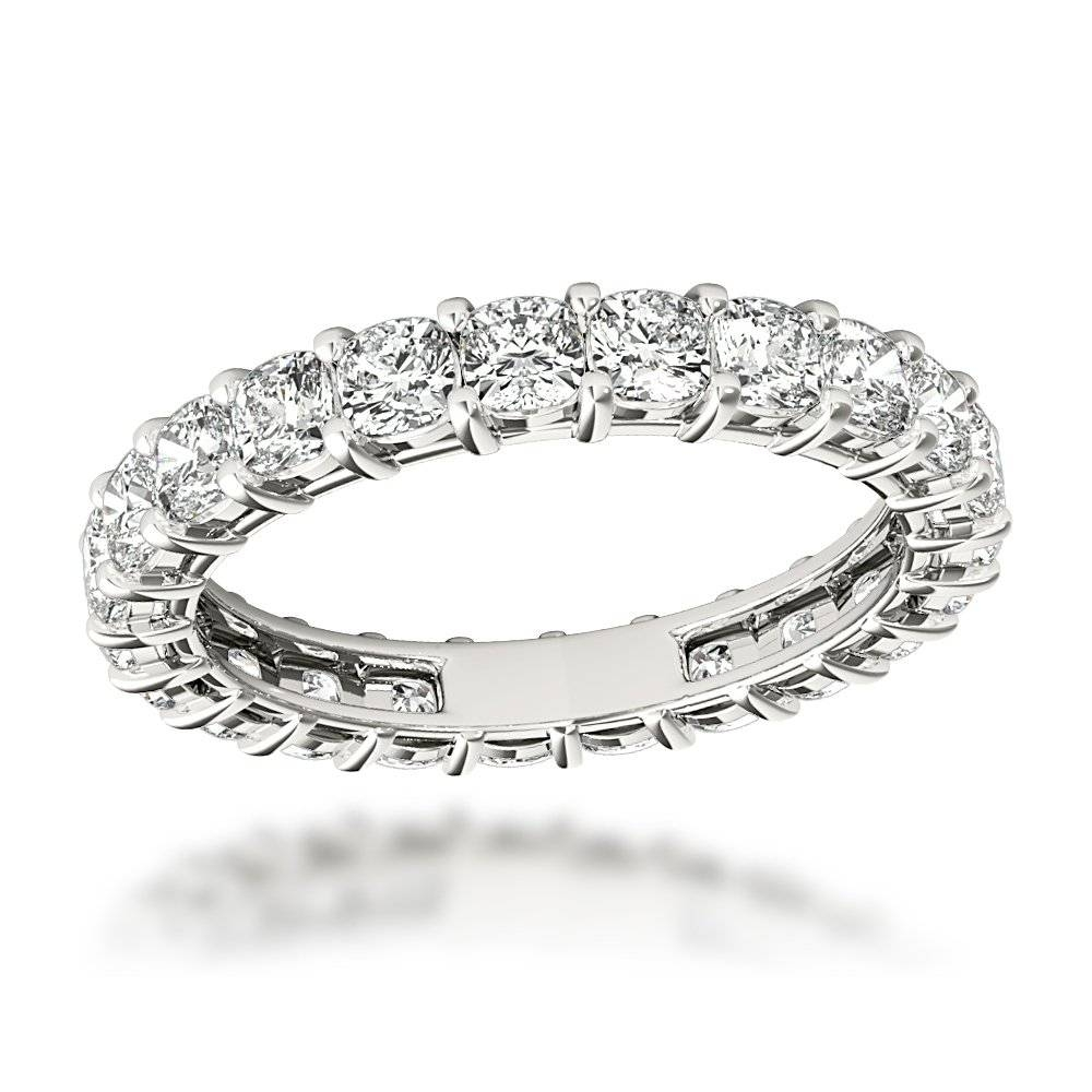 Cushion Cut Diamond Eternity Ring Diamond Anniversary Ring  (View 12 of 25)