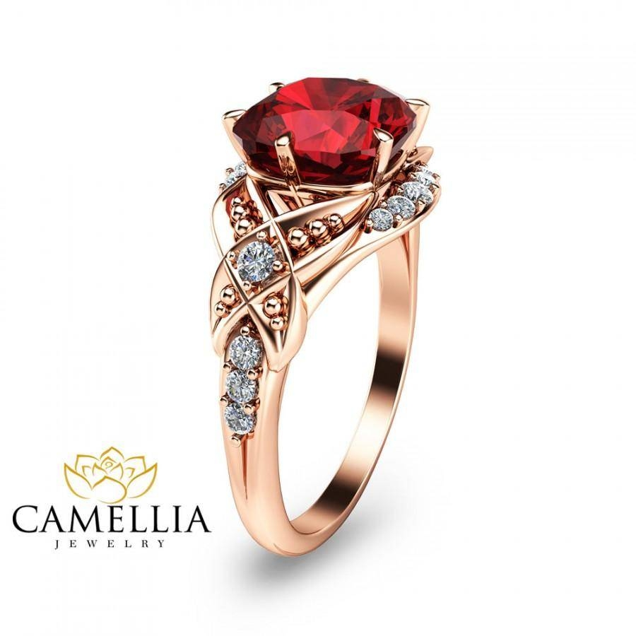 Cushion Cut Ruby Engagement Ring 14K Rose Gold Ruby Engagement With Most Current Ruby Anniversary Rings (View 12 of 25)