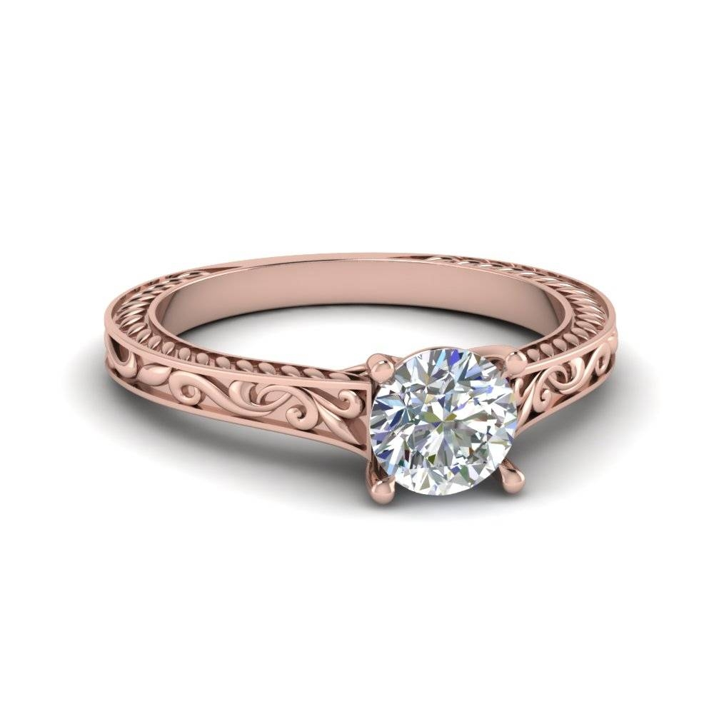 Delicate Cathedral Round Diamond Vines Engraved Ring In 14K Rose With Regard To Current Engraved Anniversary Rings (View 5 of 25)
