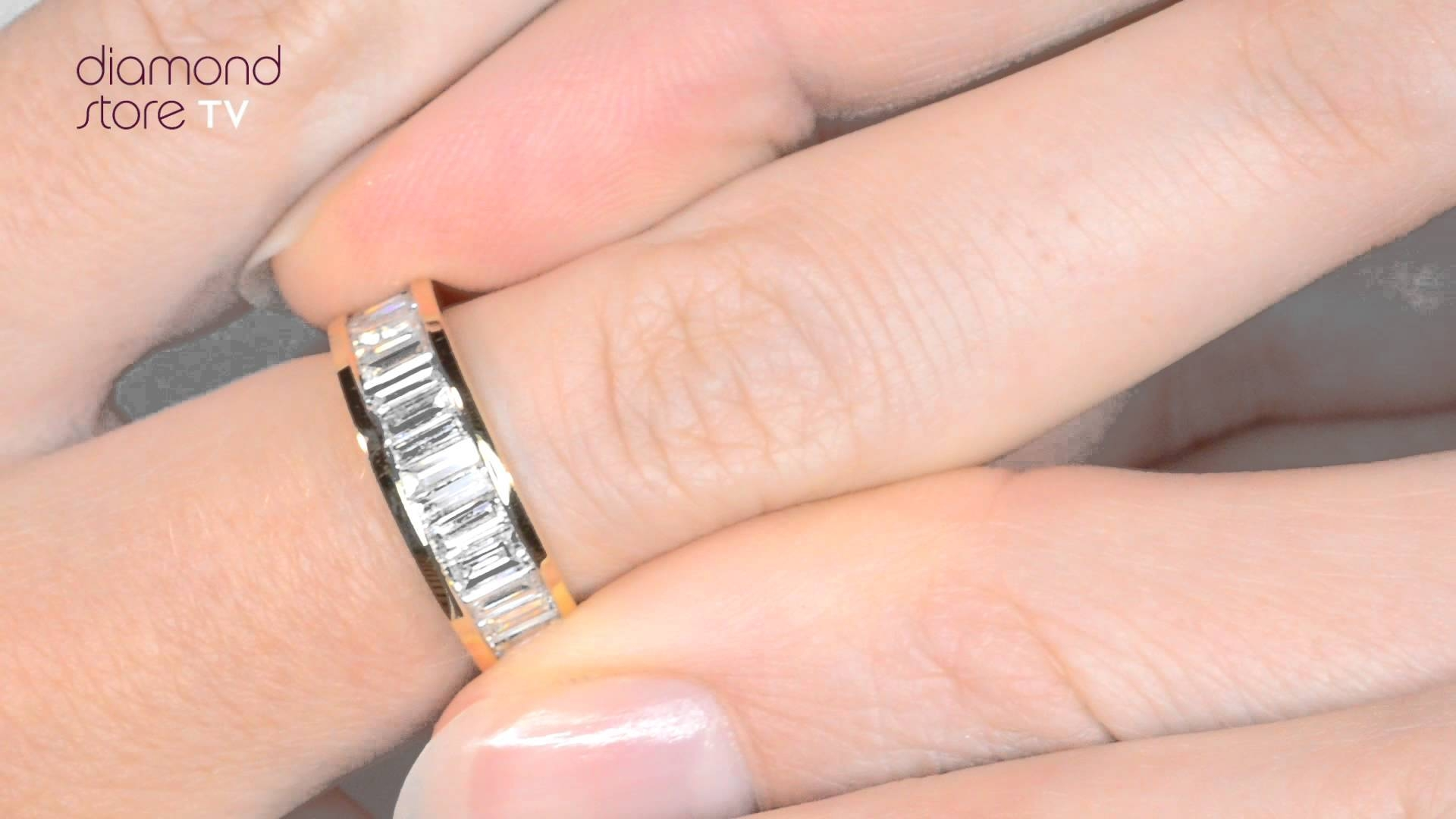Diamond 1Ct Baguette Half Eternity Ring In 18K Gold – Ft34 322 For Newest Baguette Anniversary Rings (Gallery 22 of 25)
