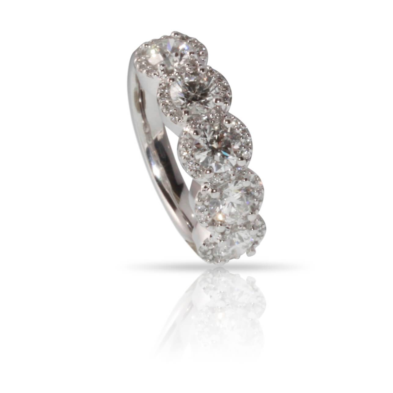 Diamond 5 Stone Halo Ring – R.f (View 13 of 25)