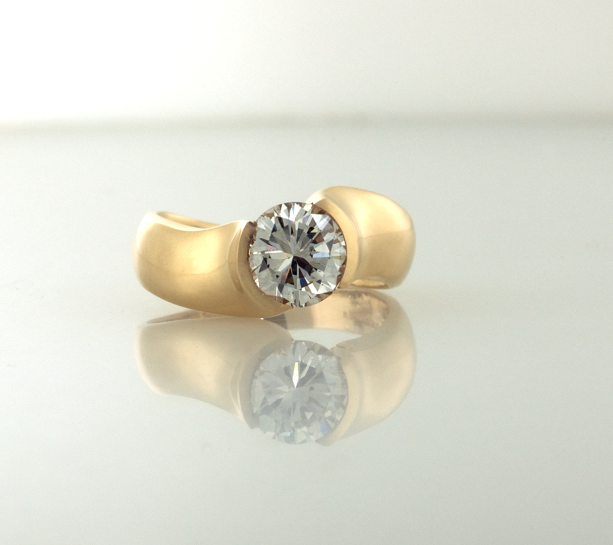 Diamond And Gold Solitaire Modern Ring R2055 | Signature Solitaire Within Most Recently Released Modern Anniversary Rings (Gallery 7 of 25)