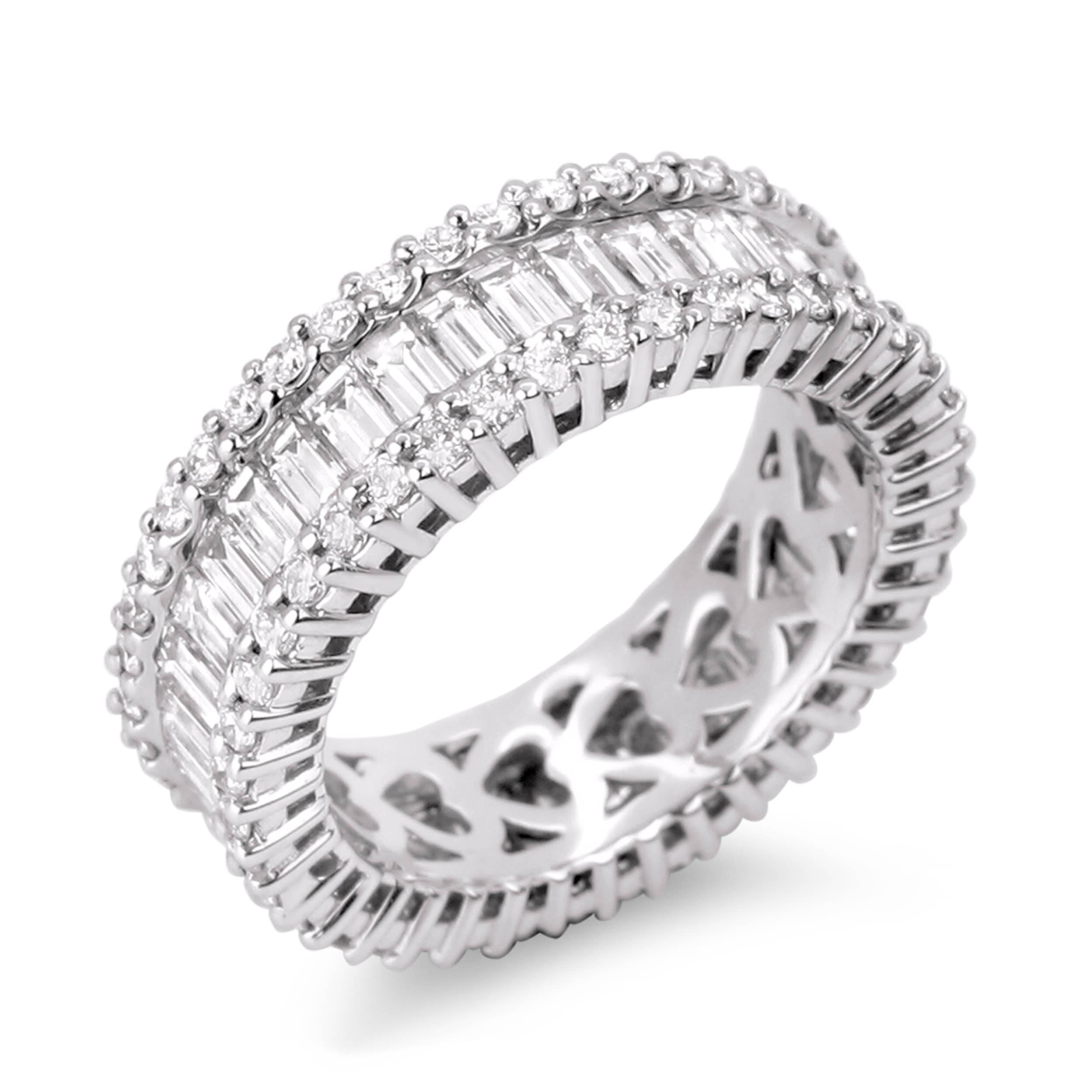 band bands baguette platinum and princess carat cut eternity diamond anniversary ring