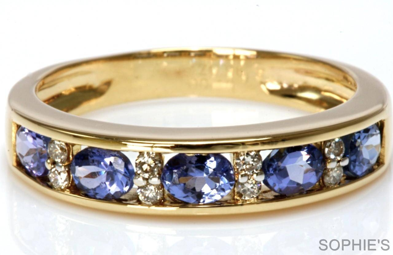 Diamond Anniversary Rings Yellow Gold Natural Tanzanite Amp Intended For 2017 Wedding Anniversary Rings Sets (View 8 of 25)