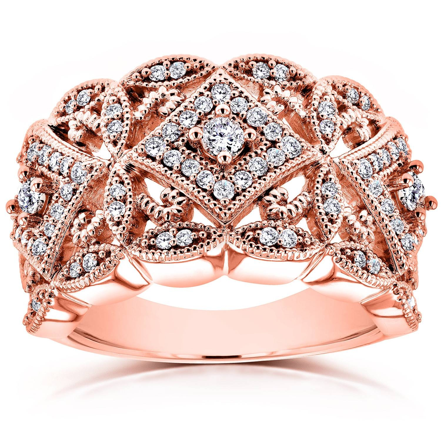 Diamond Antique Filigree Wide Anniversary Ring 1/2 Ctw In 14K Rose Within 2017 Rose Gold Anniversary Rings (View 7 of 25)