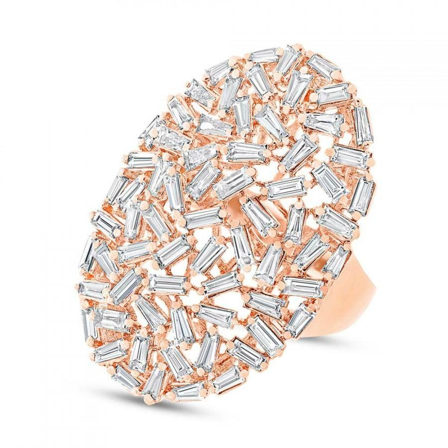 Diamond Baguette Ring 14K Rose Gold Cocktail Ring – Diamond Pertaining To Most Recent Modern Anniversary Rings (Gallery 21 of 25)