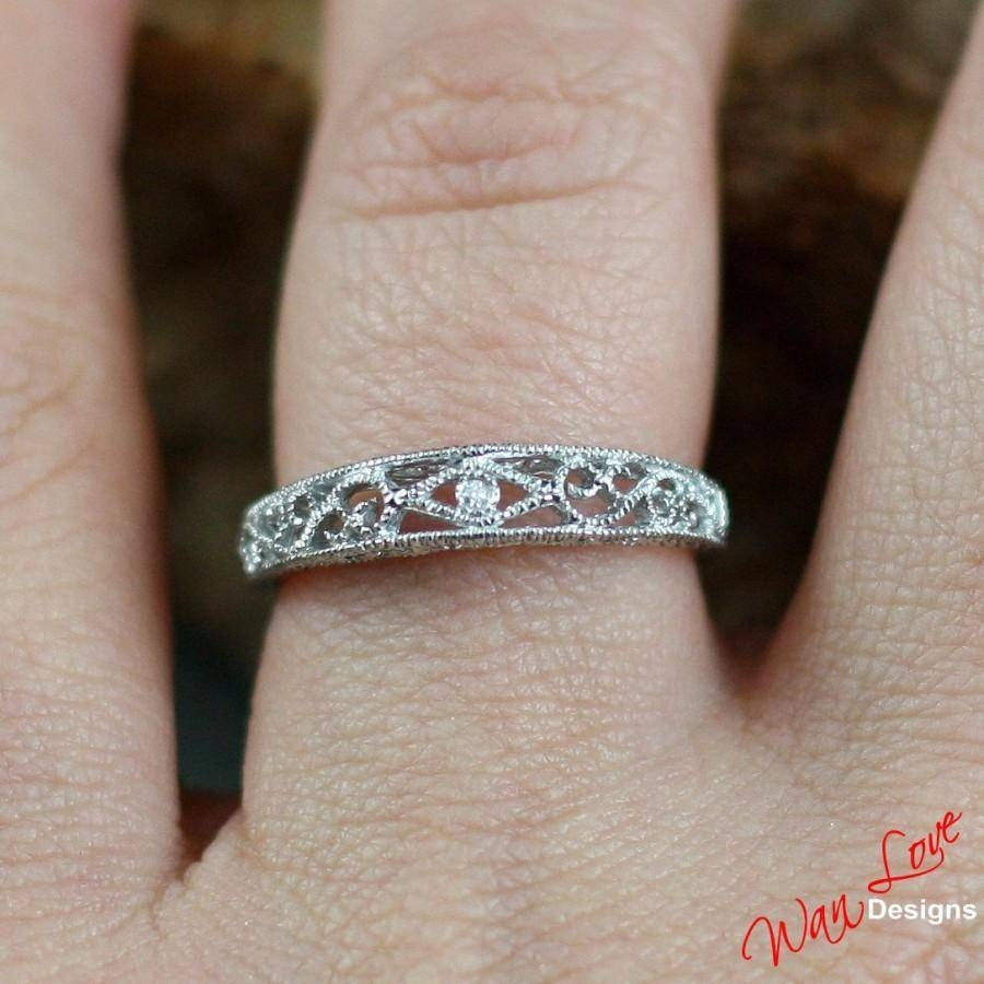 Diamond Filigree Milgrain Wedding Band Engagement Ring 14K 18K Throughout Most Recently Released Custom Made Anniversary Rings (View 13 of 25)