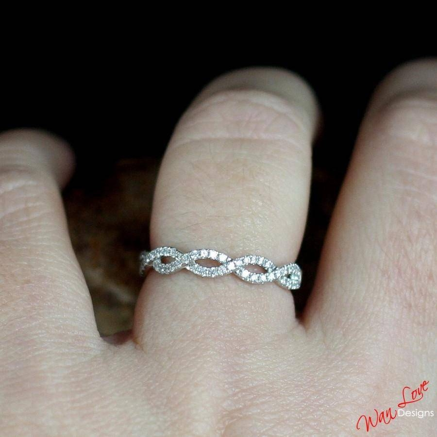 Diamond Infinity Womans Wedding Band Ring Split Shank 14K 18K Within 2018 Custom Made Anniversary Rings (View 19 of 25)