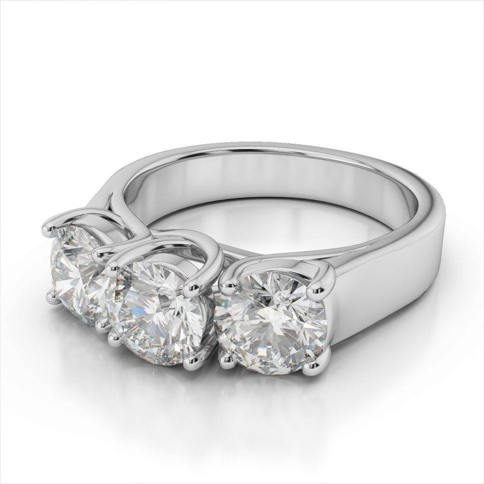 Diamond : Three Stone Diamond Anniversary Rings Ring Ct Tw Round With Regard To Newest White Gold Anniversary Rings (Gallery 14 of 25)