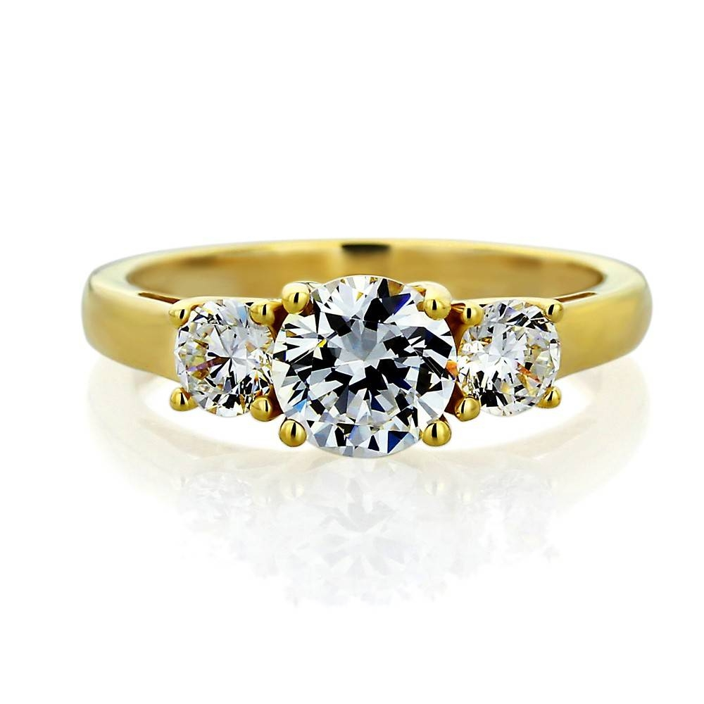 Double Accent | 14K Yellow Gold Wedding Ring Round Cz Three Stone With Regard To Most Popular Yellow Gold Anniversary Rings (View 10 of 25)