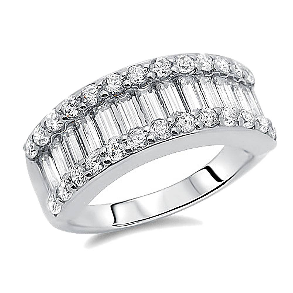 Double Accent | Sterling Silver Rhodium Plated, Wedding Ring Round Throughout Most Recently Released Baguette Anniversary Rings (Gallery 1 of 25)