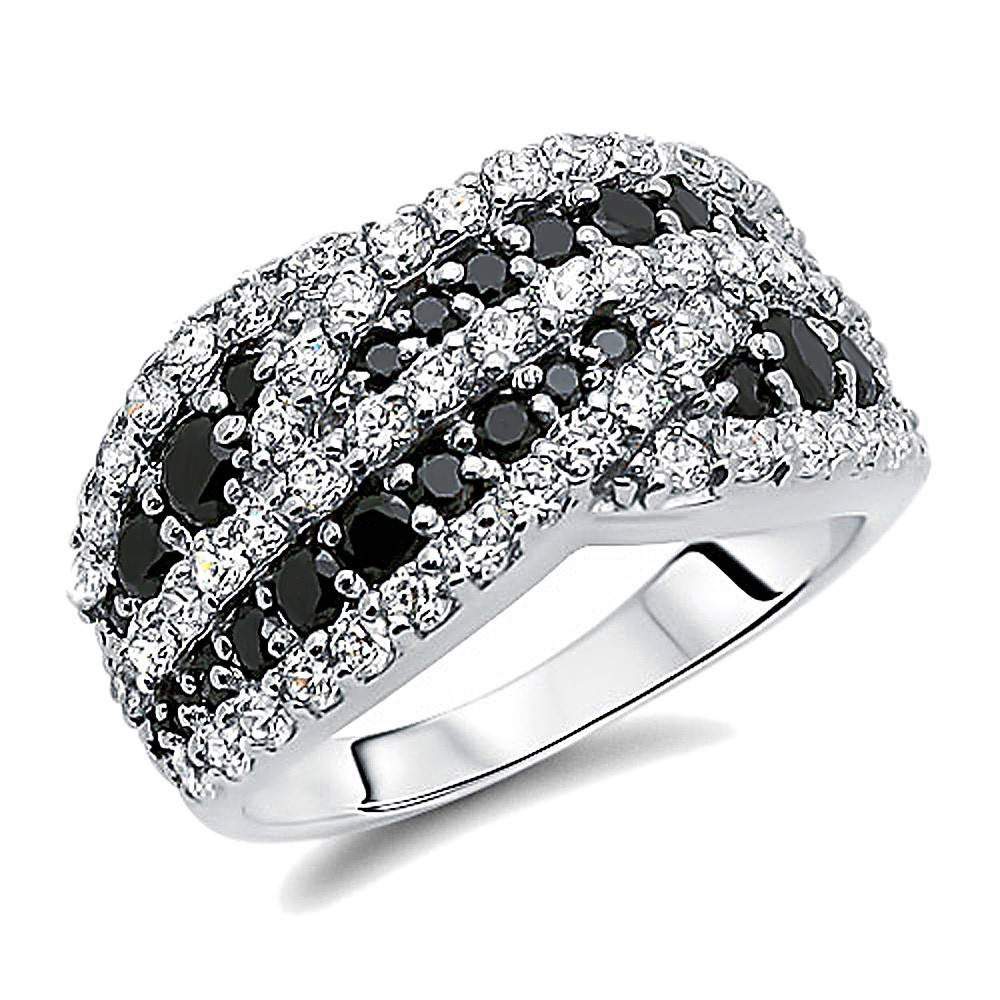 Double Accent | Sterling Silver Rhodium Plated, Wedding Ring Round Within Newest Sterling Silver Anniversary Rings (Gallery 25 of 25)
