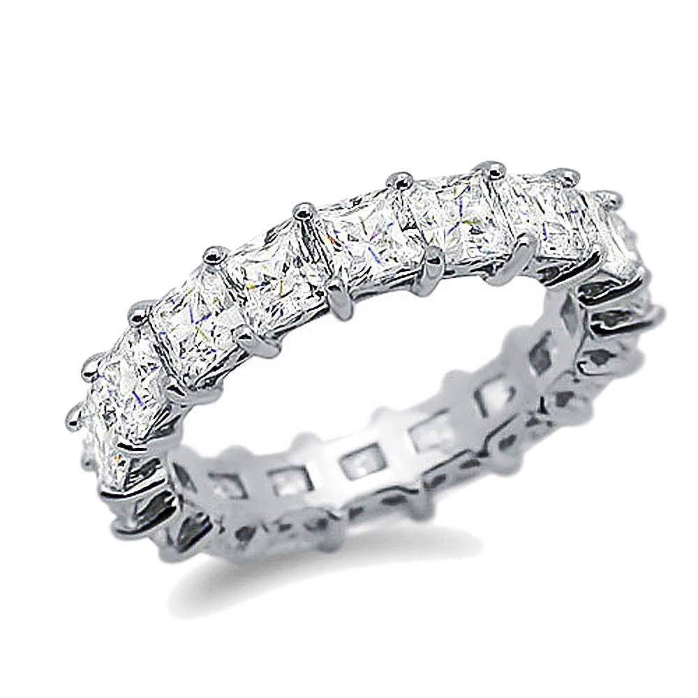 Double Accent   Sterling Silver Rhodium Plated, Wedding Ring Throughout Latest Cz Anniversary Rings (View 11 of 25)