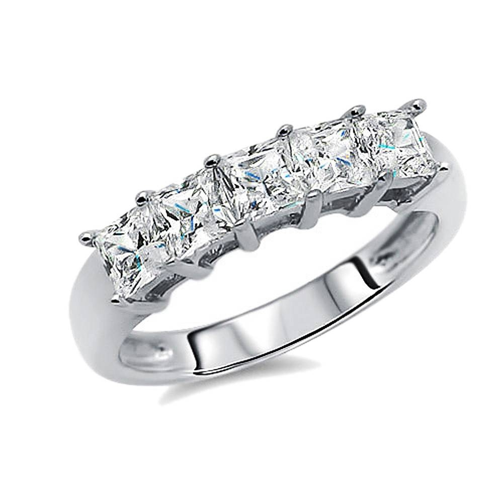 Double Accent | Sterling Silver Rhodium Plated, Wedding Ring Within Best And Newest Cubic Zirconia Anniversary Rings (View 13 of 25)