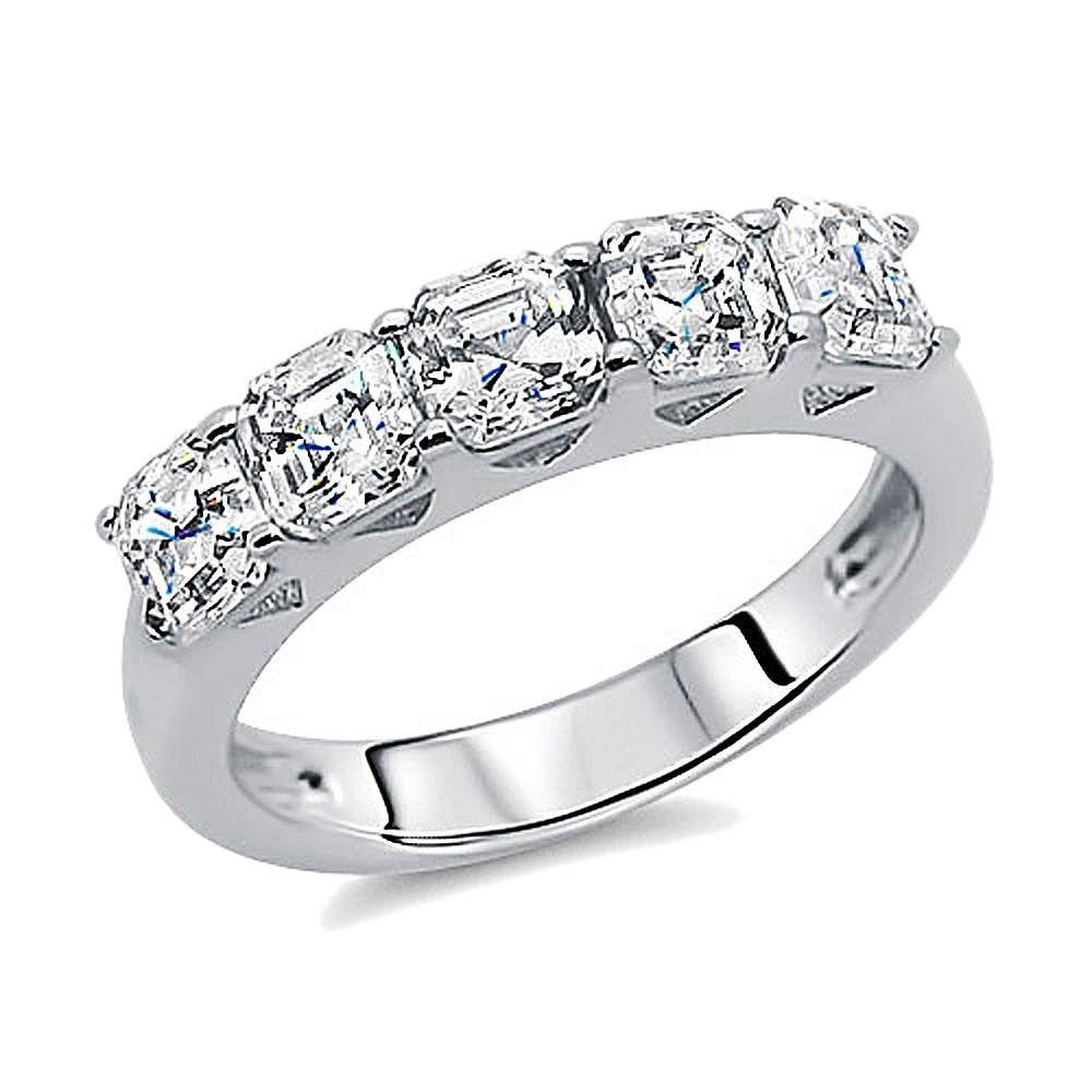 Double Accent | Sterling Silver Rhodium Plated, Wedding Ring Within Most Popular Sterling Silver Anniversary Rings (View 10 of 25)