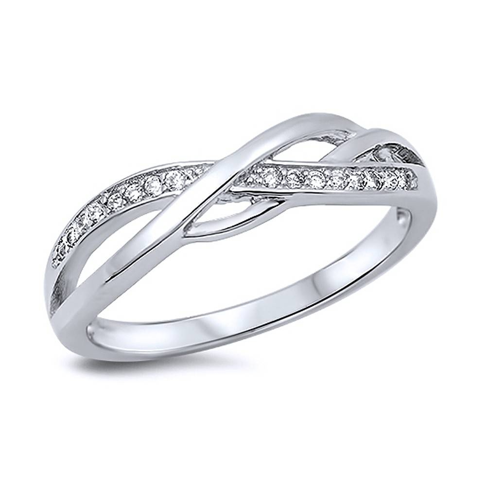 Double Accent | Sterling Silver Round White Cz Swirl Band Pertaining To Most Recently Released Sterling Silver Anniversary Rings (View 15 of 25)
