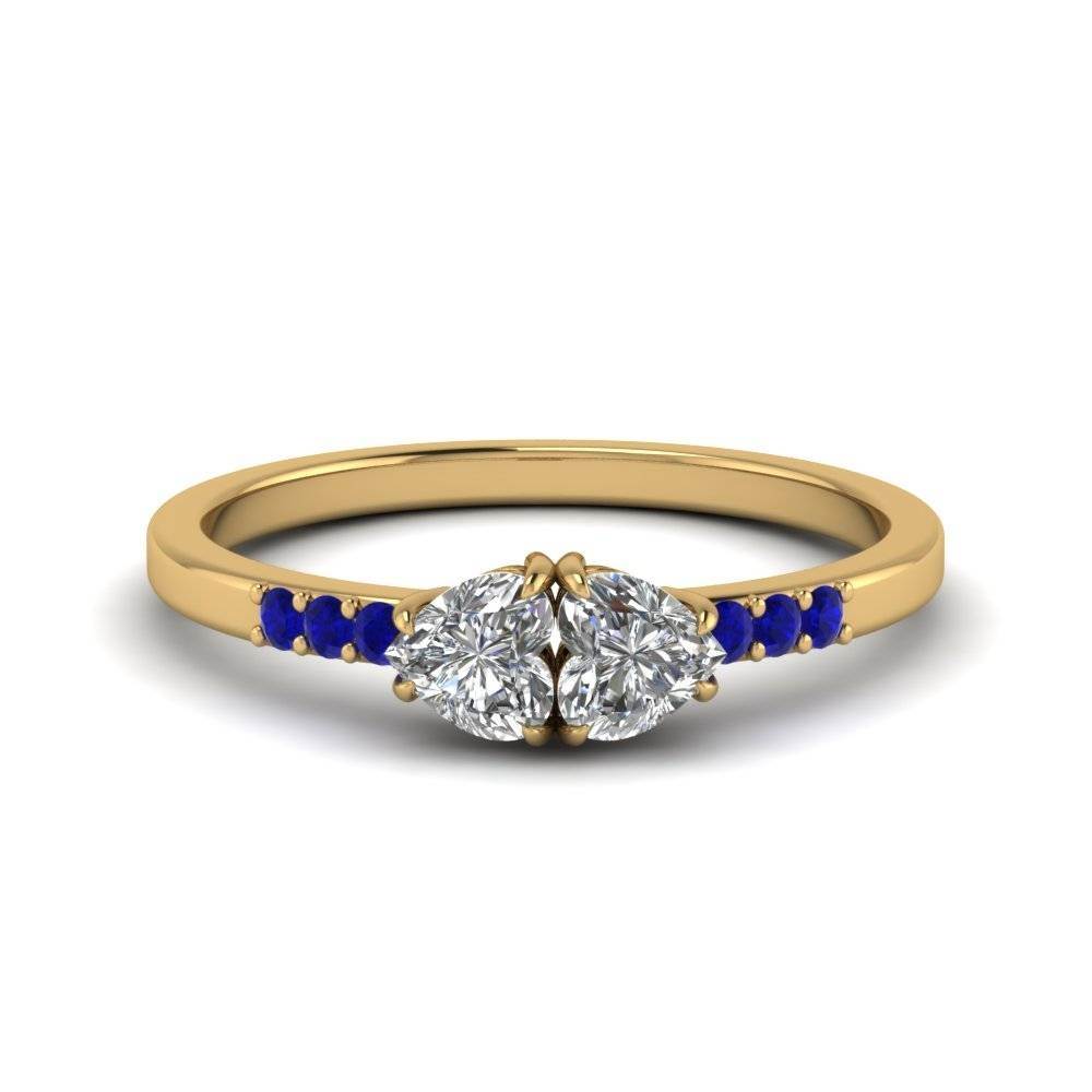 Double Heart Anniversary Diamond Engagement Ring With Blue With Current Blue Sapphire Anniversary Rings (View 6 of 25)