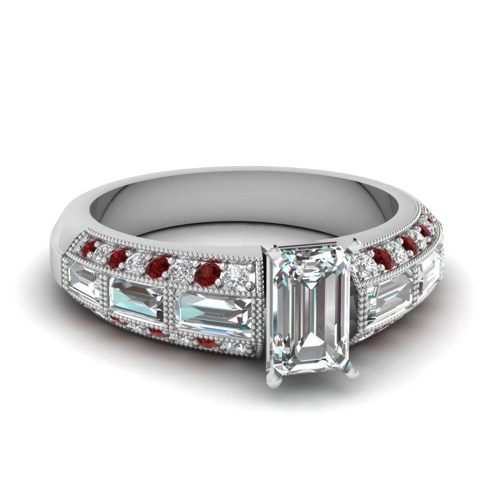 Emerald Cut 3 Row Baguette And Round Diamond Vintage Wedding Ring Pertaining To 2017 Baguette Anniversary Rings (View 16 of 25)