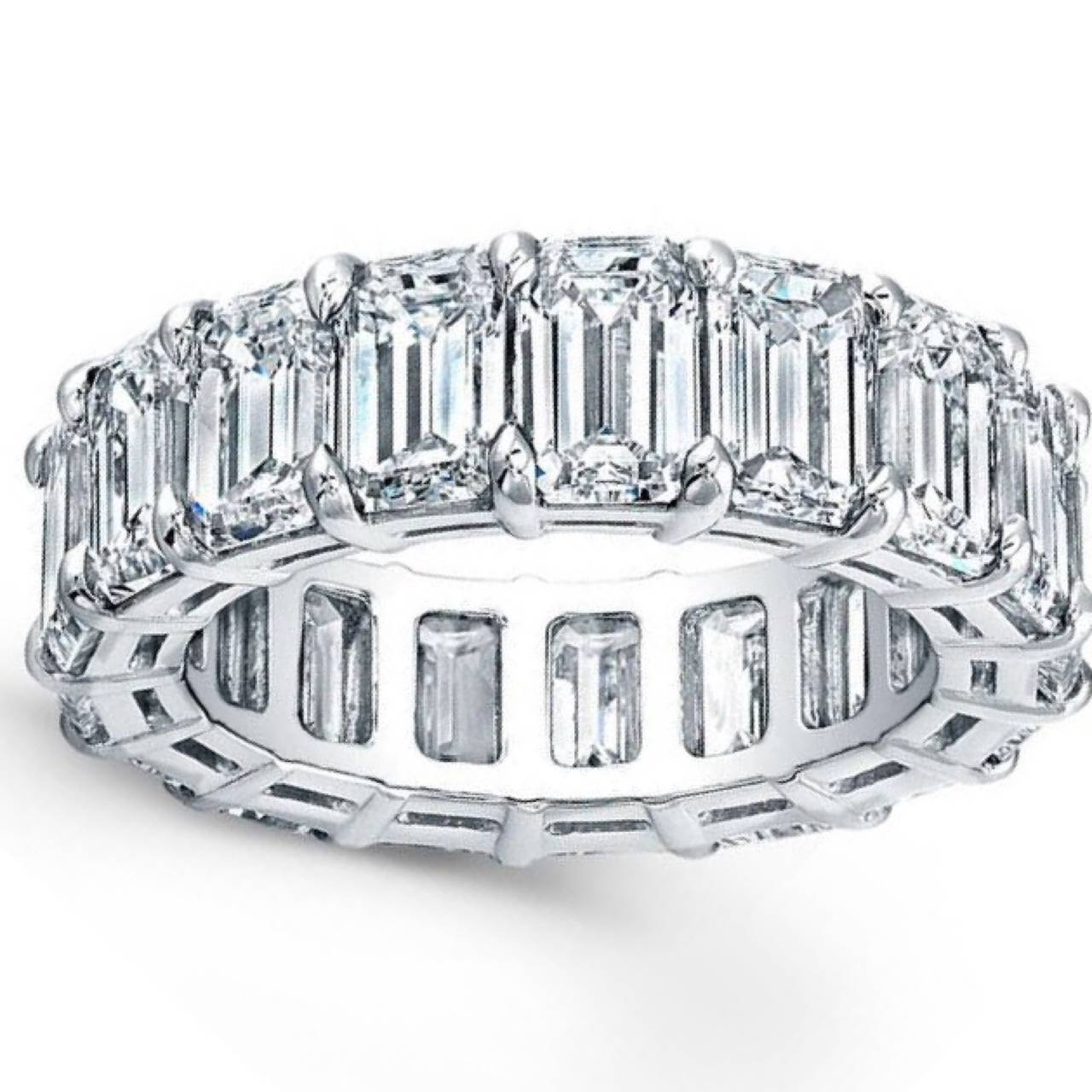 Emerald Cut Diamond Platinum Eternity Anniversary Band Ring At 1Stdibs Intended For Best And Newest Emerald Anniversary Rings (View 10 of 25)
