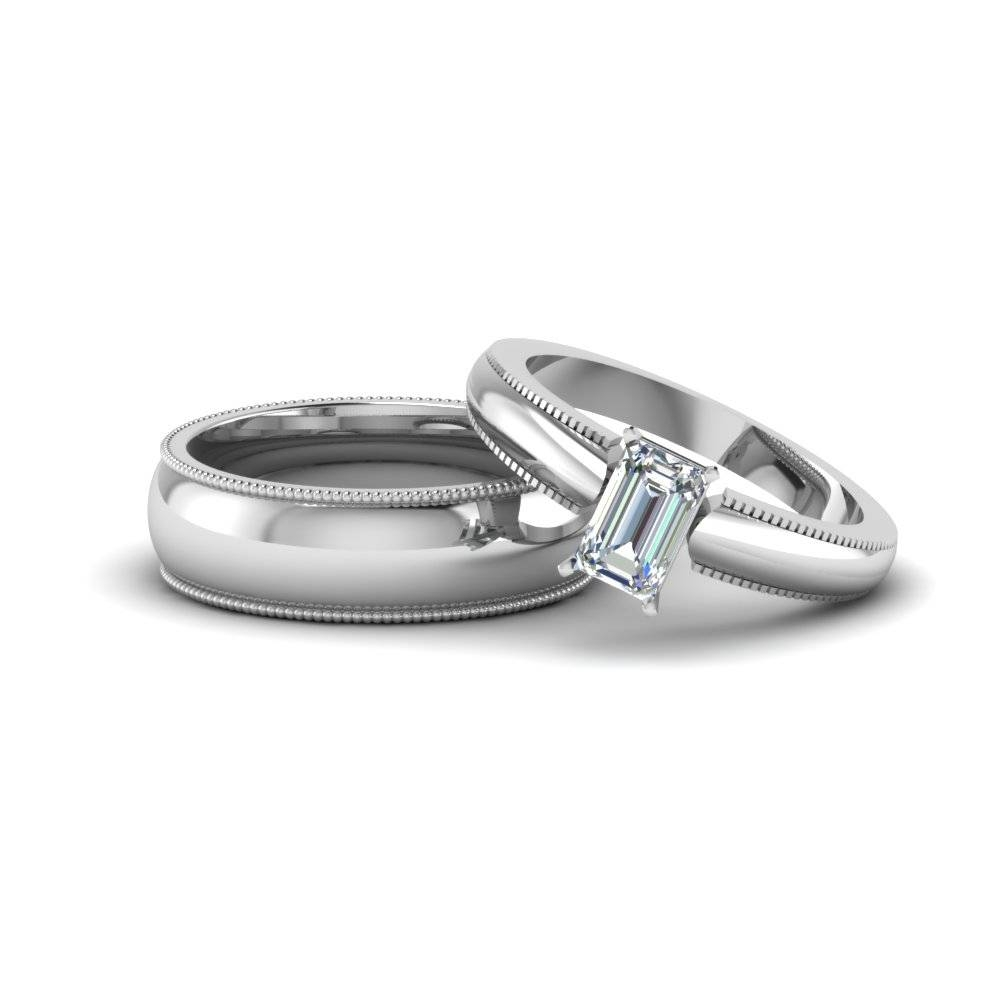Emerald Cut Matching Wedding Anniversary Ring With Band For Him Pertaining To 2017 Emerald Anniversary Rings (View 11 of 25)
