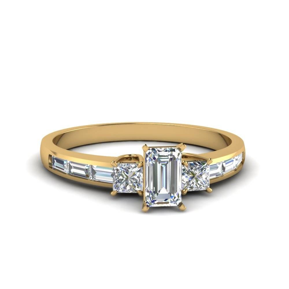 Emerald Cut Straight Baguette Side Stone Engagement Rings Inside Most Up To Date Anniversary Rings With Baguettes (Gallery 15 of 25)