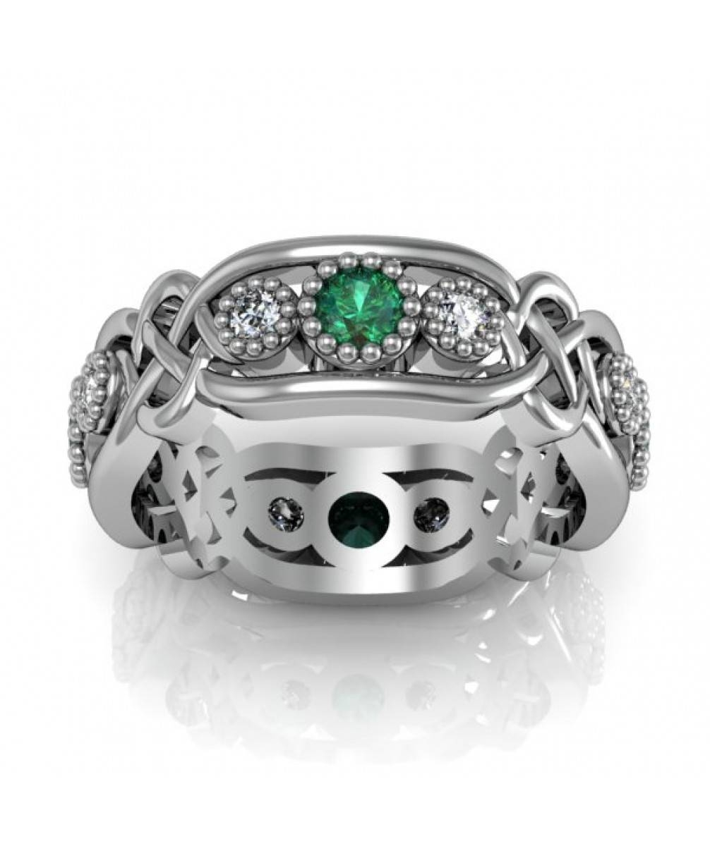 Emerald Ladies Celtic Eternity Anniversary And Promise Ring Pertaining To Most Recent Celtic Anniversary Rings (View 14 of 25)